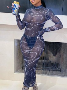 Blue Snake Skin Print Grenadine Band Collar Long Sleeve Sheer Bodycon Maxi Dress With Gloves