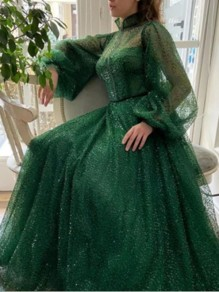 Green Patchwork Grenadine Bright Wire Pleated Sparkly Glitter Birthday Prom Evening Party Maxi Dress