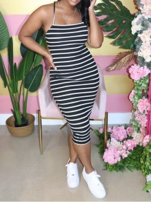 Black Striped Spaghetti Strap Bodycon Party Maxi Dress