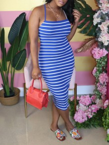 Blue Striped Spaghetti Strap Bodycon Party Maxi Dress