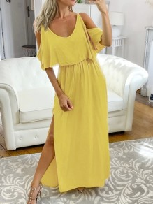 Yellow Cut Out Off Shoulder Side Slit V-neck Short Sleeve Elegant Maxi Dress