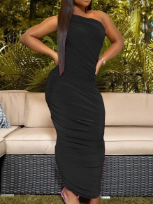 Black One Off Shoulder Pleated Scrunch Bodycon Party Maxi Dress