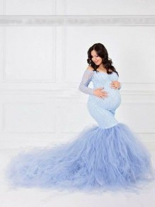 Light Blue Patchwork Grenadine Lace Cut Out V-neck Off Shoulder Mermaid Maternity For Babyshower Maxi Dress