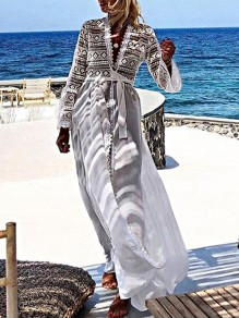 White Patchwork Lace V-neck Long Sleeve Slit Bohemian Beach Maxi Dress