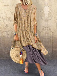 Khaki Floral Buttons Draped V-neck Half Sleeve Bohemian Maxi Dress