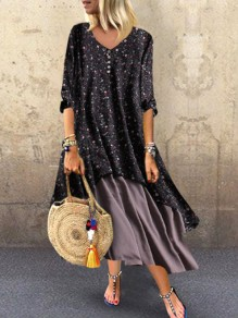 Black Floral Buttons Draped V-neck Half Sleeve Bohemian Maxi Dress