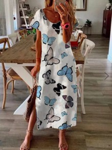 White Butterfly Floral Round Neck Short Sleeve Slit Maxi Dress
