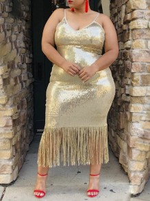 Apricot Patchwork Sequin Tassel Adjustable-straps V-neck Glitter Sparkly Birthday Party Plus Size Maxi Dress