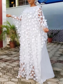 White Patchwork 3D Grenadine Floral Embroidered Print Round Neck Dolman Sleeve Africa Robe Style Maxi Dress