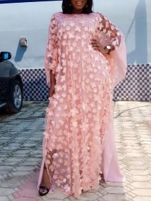 Pink Patchwork 3D Grenadine Floral Embroidered Print Round Neck Dolman Sleeve Africa Robe Style Maxi Dress