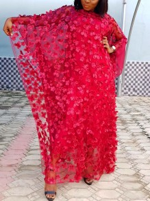 Red Patchwork 3D Grenadine Floral Embroidered Print Round Neck Dolman Sleeve Africa Robe Style Maxi Dress