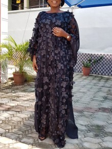 Black Patchwork 3D Grenadine Floral Embroidered Print Round Neck Dolman Sleeve Africa Robe Style Maxi Dress