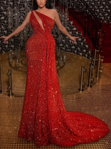 Red Sequin Cut Out Asymmetric Shoulder Sleeveless Glitter Sparkly Birthday Party Mermaid Prom Maxi Dress
