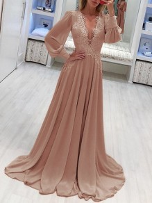 Khaki Patchwork Lace Grenadine Lantern Sleeve Flowy Chiffon Wedding Bridesmaid Maxi Dress