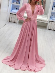 Pink Patchwork Lace Grenadine Lantern Sleeve Flowy Chiffon Wedding Bridesmaid Maxi Dress