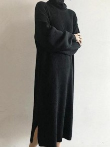 Black Oversize High Neck Long Sleeve Fashion Maxi Dress