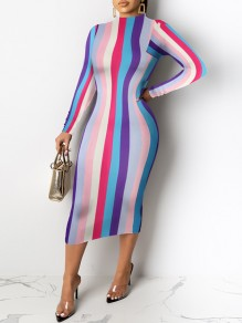 Pink Colorful Striped Print Round Neck Long Sleeve 70S Hip Bodycon Maxi Dress