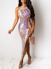 Apricot Patchwork Floral Sequin Grenadine Halter Neck Backless Slit Bodycon Glitter Sparkly Party Prom Maxi Dress
