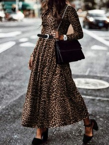 Brown Leopard Print Pleated Round Neck Long Sleeve Big Swing Casual Maxi Dress