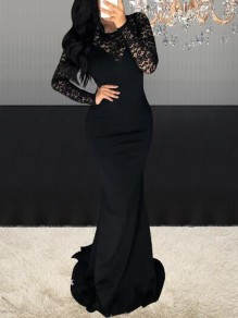 Black Patchwork Lace Long Sleeve Mermaid Banquet NYE Party Maxi Dress