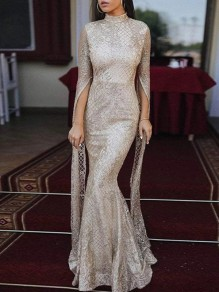 Silver Patchwork Sequin Grenadine Band Collar Long Sleeve Mermaid Glitter Sparkly Birthday Party Prom Maxi Dress