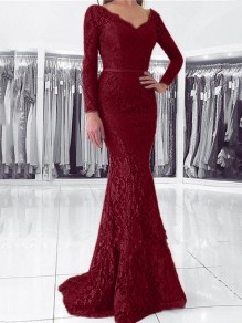 Burgundy Patchwork Lace Cut Out V-neck Long Sleeve Mermaid Elegant Maxi Dress