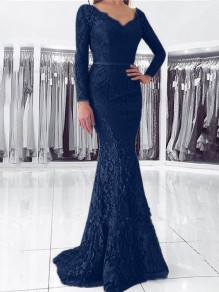 Navy Blue Patchwork Lace Cut Out V-neck Long Sleeve Mermaid Elegant Maxi Dress