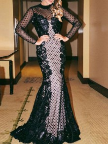 Black Patchwork Lace Cut Out Grenadine Striped Backless Long Sleeve Mermaid Prom Maxi Dress