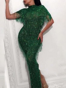 Green Patchwork Sequin Tassel Half Sleeve Bedazzled Sparkly NYE Banquet Party Maxi Dress