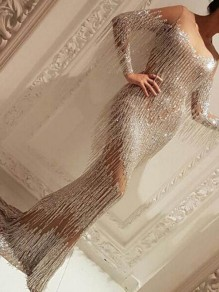 Silver Patchwork Tassel Grenadine Mermaid Bedazzled Sparkly NYE Banquet Party Maxi Dress