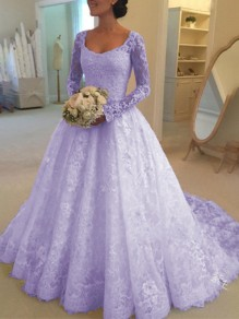 Purple Patchwork Lace Grenadine Elegant Square Neck Long Sleeve Wedding Maxi Dress