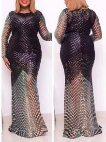 Silver Sequin Round Neck Long Sleeve Hip Bodycon Mermaid Prom Maxi Dress