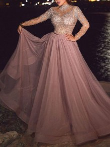 Pink Patchwork Grenadine Glitter Sparkly Elegant Prom Evening Party Maxi Dress
