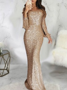 Champagne Patchwork Sparkly Sequin Bodycon V-neck Long Sleeve Elegant Maxi Dress