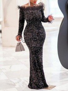 Black Patchwork Feather Sequin Off Shoulder Backless Mermaid Sparkly Banquet Party Maxi Dress