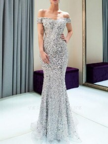 Silver Sequin Off Shoulder Backless Mermaid Sparkly Banquet Party Maxi Dress