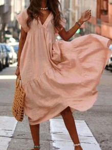 Coral V-neck Short Sleeve Big Swing Flowy Going out Midi Dress