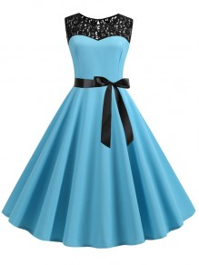 Light Blue Patchwork Lace Sashes Big Swing A-Line Cocktail Party Midi Dress