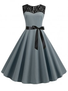 Grey Patchwork Lace Sashes Big Swing A-Line Cocktail Party Midi Dress