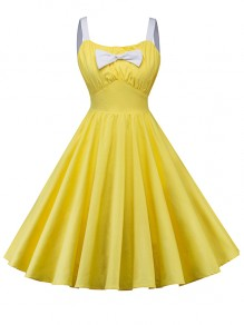 Yellow Pleated Bow Spaghetti Strap Backless Homecoming Party Midi Dress