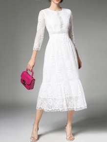 White Patchwork Lace Chiffon Three Quarter Length Sleeve Elegant Flowy Wedding Guest Maxi Dress