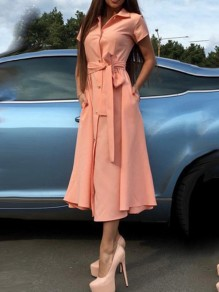 Pink Single Breasted Sashes Pockets V-neck Short Sleeve Going out Midi Dress
