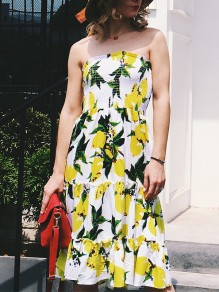 Yellow Lemon Floral Print Bandeau Off Shoulder Boho Summer Midi Dress