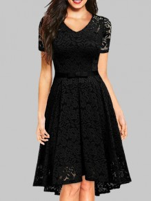 Black Lace Bow V-neck Short Sleeve Cocktail Party Midi Dress
