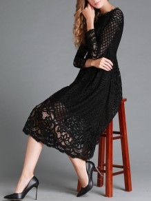 Black Lace Draped Round Neck Long Sleeve Elegant Banquet Prom Midi Dress
