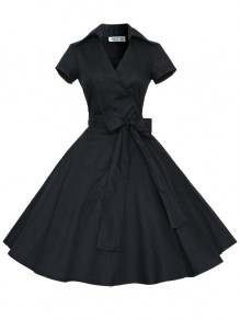Black Bow Sashes V-neck Short Sleeve 50s Vintage Cocktail Party Midi Dress