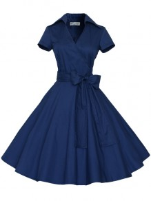 Blue Bow Sashes V-neck Short Sleeve 50s Vintage Cocktail Party Midi Dress