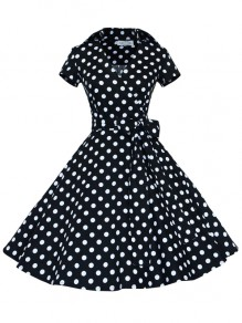 Black Polka Dot Print Bow Sashes V-neck Short Sleeve 50s Vintage Cocktail Party Midi Dress