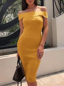 Yellow Irregular Off Shoulder Backless Skinny Party Midi Dress