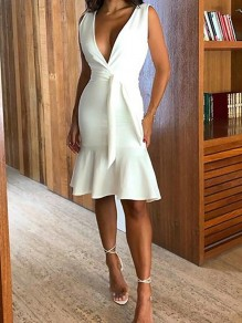White Ruffle Sashes Fishtail Bodycon Mermaid Deep V-neck Elegant Party Midi Dress